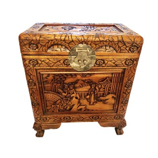 1960s Chinese Camphor Wood Hand Carved Chest For Sale