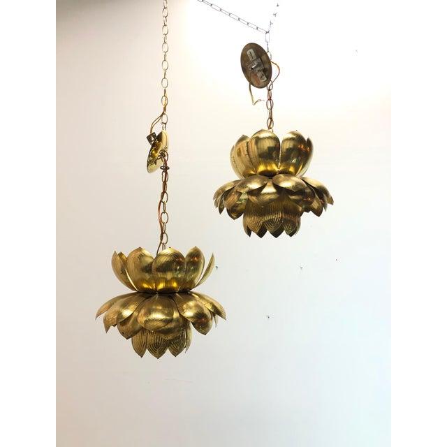 Feldman Lighting Pair of Brass Lotus Pendants For Sale - Image 4 of 12