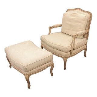 1980s Vintage French Provincial Style Pearson Bergere & Matching Ottoman For Sale