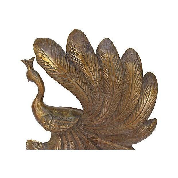 Mid-Century Brass Peacock Statue - Image 4 of 7