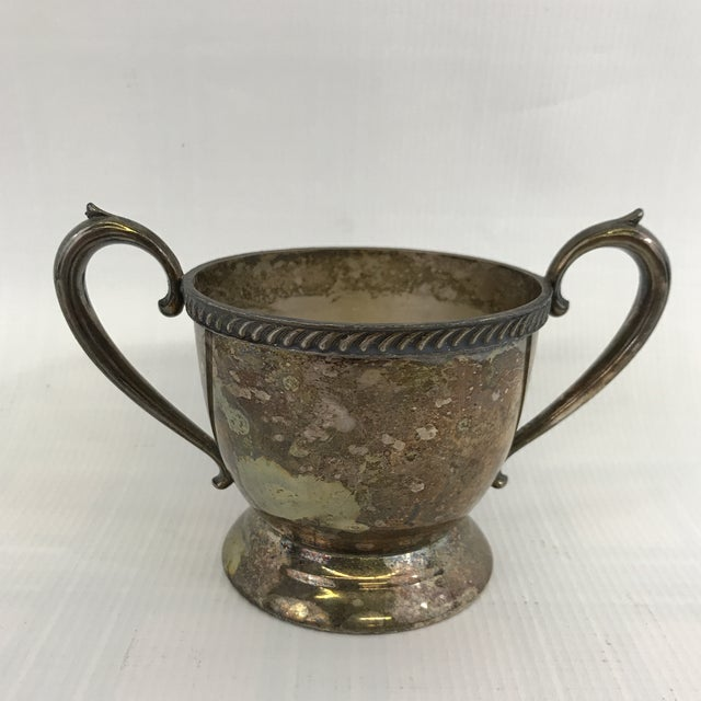 Metal Vintage Silver Sugar Bowl or Trophy Cup For Sale - Image 7 of 7