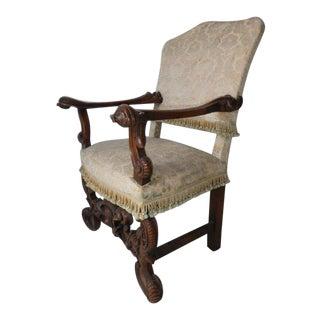 19th Century Italian Rococo Style Walnut Armchair For Sale