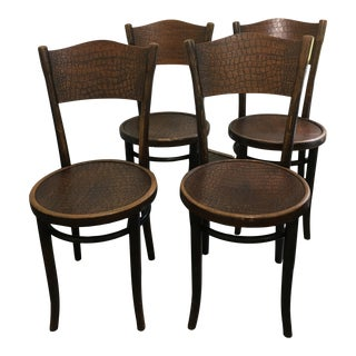 Thonet Steam Pressed Crocodile Embossed Bentwood Cafe Chairs - Set of 4 For Sale