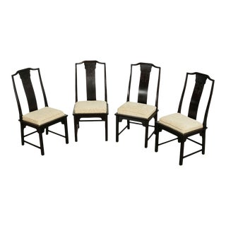 Century Furniture Asian Style Ebony Finish Dining Chairs - Set of 4 For Sale