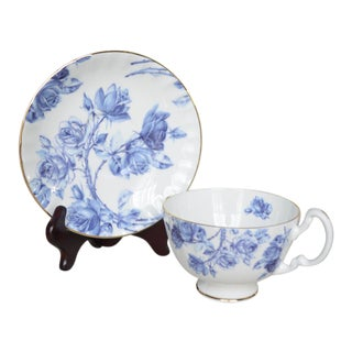 Aynsley Elizabeth Rose Blue & White Teacup & Saucer - a Pair For Sale