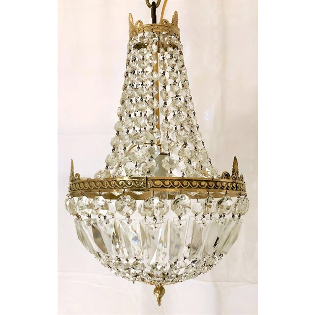 Antique French Crystal and Bronze Fixture, Circa 1920-1930. For Sale - Image 4 of 4