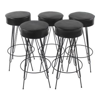 1960s Mid Century Modern Bar Stools - Set of 5 For Sale