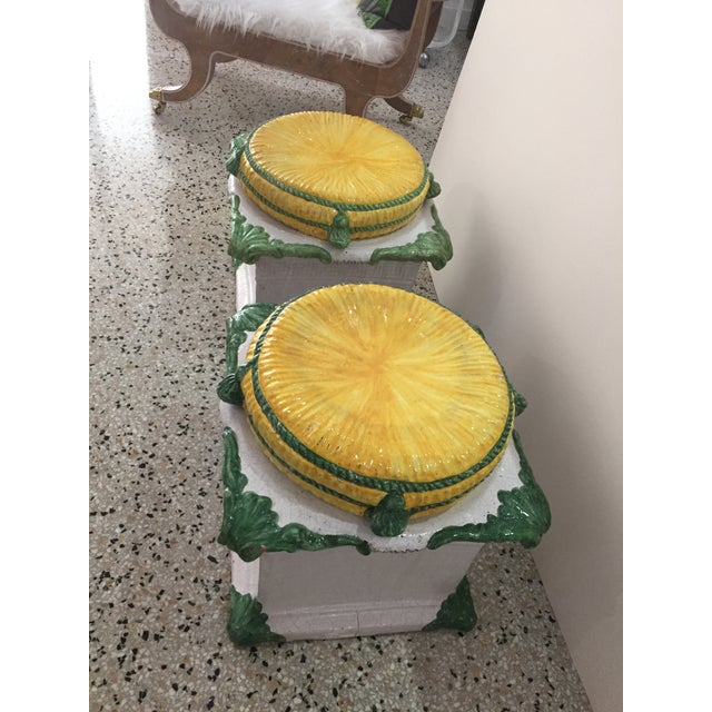 1920s Italian Glazed Terra Cotta Loggia Greek Key Garden Stools W/ Removable Tops - a Pair For Sale - Image 10 of 12