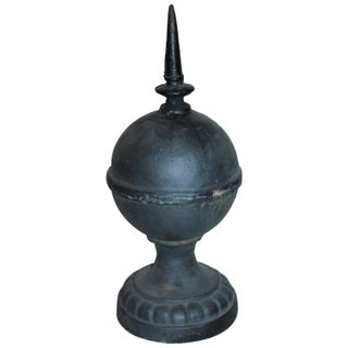 Heavy 1940s Cast Iron Ball Point Cast Iron Finial For Sale