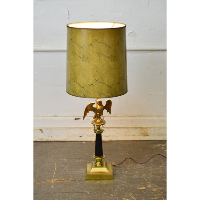 Federal Stiffel Vintage Federal Style Brass American Eagle Table Lamp For Sale - Image 3 of 12