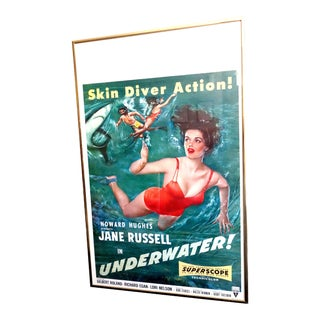 "1955 Movie Poster for the Feature Film: ""Underwater!"" Starring Jane Russell, Gilbert Roland For Sale"
