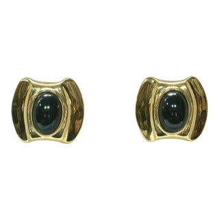 1980s Givenchy Gold Plate Onyx Earrings For Sale