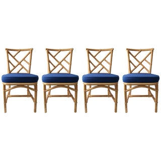 Set of Four Bamboo Side Chairs For Sale