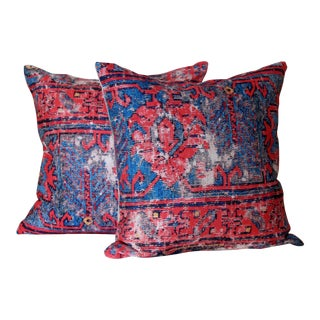 Red Distressed Turkish Rug Print Pillows - A Pair For Sale