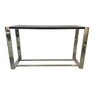 Organic Modern Black Wood and Chrome Console Table For Sale