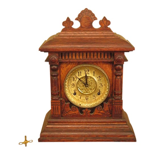 Antique Victorian Oak Mantle Clock For Sale