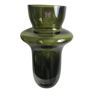Waterford Mid-Century Modern Chartreuse Green Crystal Vase
