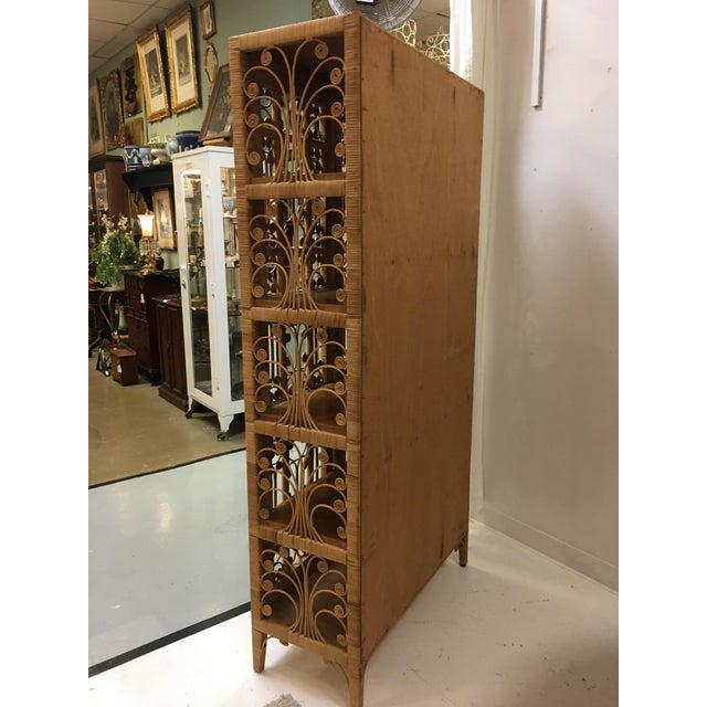 Bohemian Rattan Armoire Cabinet - Image 4 of 10