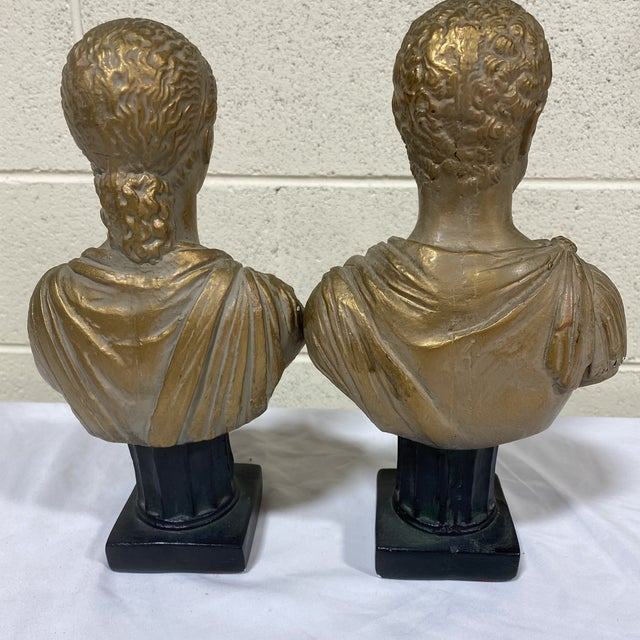 Vintage Neoclassical Chalk Ware Gold Leaf Busts - a Pair For Sale - Image 4 of 12