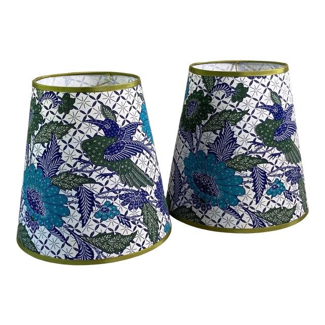 Blue & White Batik Fabric Covered Handmade Lamp Shades - a Pair For Sale