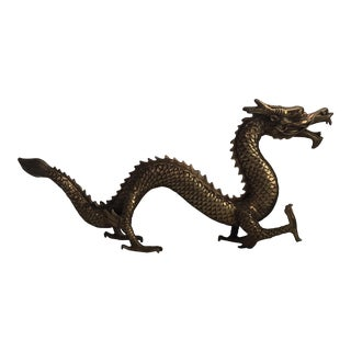 Hollywood Regency Gold Brass Chinese Dragon Statue For Sale