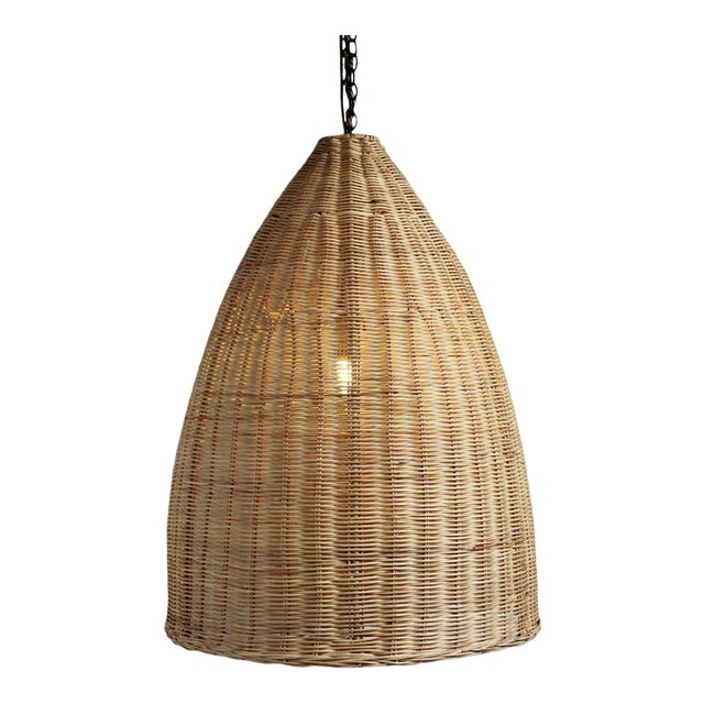 Medium Raw Rattan Pod Lantern - Image 1 of 4