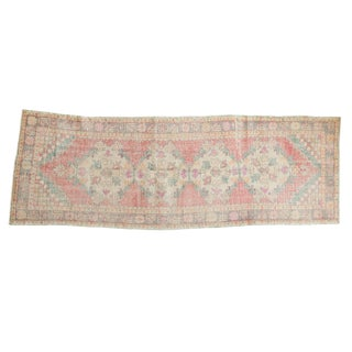 "Vintage Distressed Oushak Rug Runner - 3'5"" X 9'5"" For Sale"
