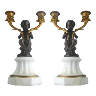 19th Century Gilt-Bronze Cherub Candelabra, Pair