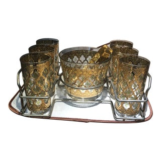 Vintage Culver 22k Gold Valencia Design Glassware - Set of 9 For Sale