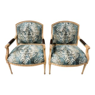 Ikat Linen Carved Bergere Chairs,Pair For Sale