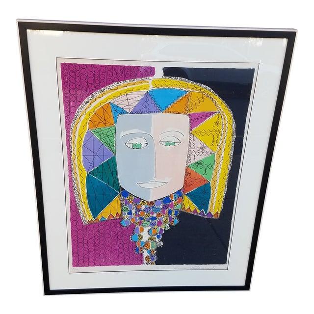 "Original Gloria Vanderbilt Signed Lithograph Titled "" Egyptian Head"" For Sale"