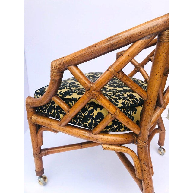 1970's Bamboo and Rattan Chippendale Swivel Desk Chair For Sale - Image 9 of 13