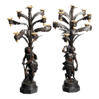 French Empire Napoleon III Bronze Anglo Indian Candelabra - a Pair For Sale