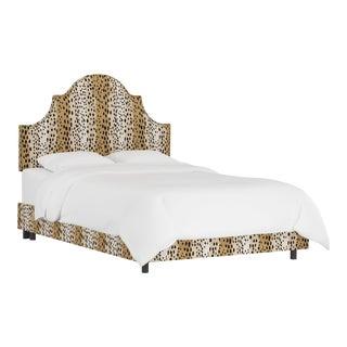 Queen Bed, Linen Leopard Caramel For Sale
