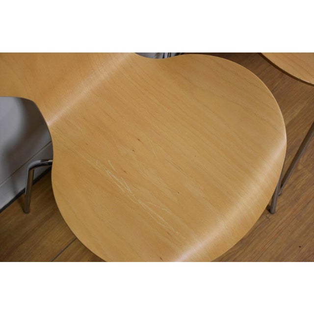 Arne Jacobsen Style Birch Dining Chairs - Set of 4 - Image 3 of 11