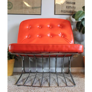 Cantilevered Chrome Tufted Orange Lounge Chair Preview