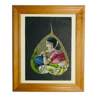 Hand Painted Portrait of a Indian Woman on a Leaf in Frame For Sale