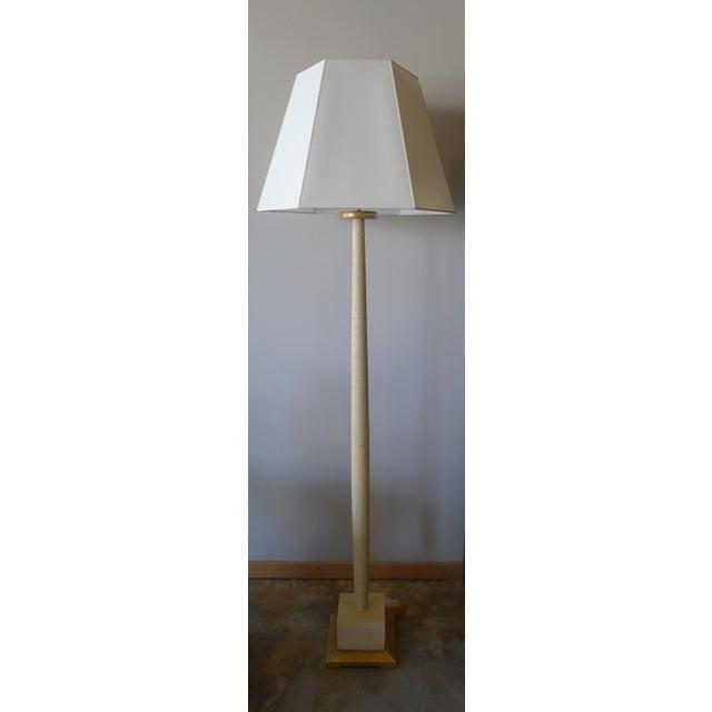 White Paul Marra Elegant 1940s Inspired Cream Faux Shagreen Floor Lamp For Sale - Image 8 of 10