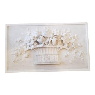 Carved Marble Floral Basket Panel For Sale