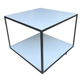 George Nelson Steel Frame Mobile Table Milk Glass Knoll For Sale