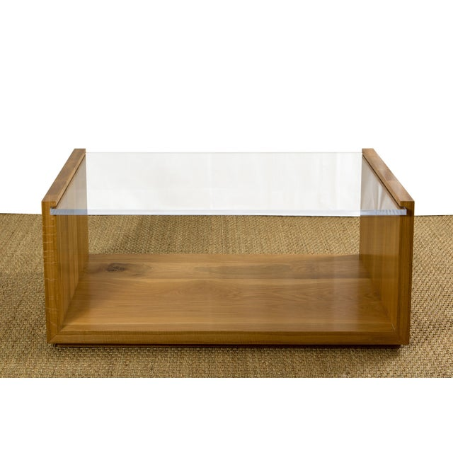 Contemporary Contemporary Oak and Lucite Coffee Table For Sale - Image 3 of 3