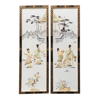 1970s Vintage Chinoiserie Black, White, and Gold Wall Hangings - a Pair For Sale