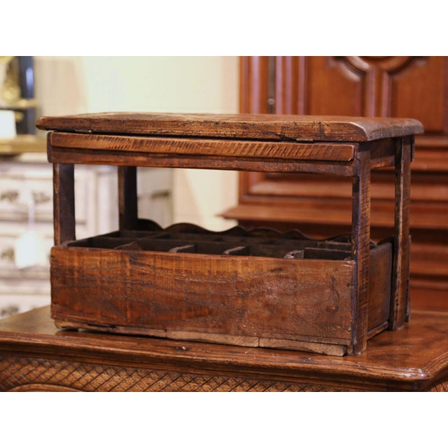 """Wood Old French Pine 15 Wine Bottle Storage Cabinet With """"Paris"""" Inscription For Sale - Image 7 of 8"""