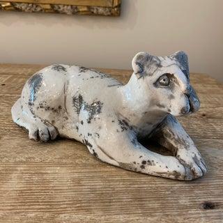 Raku Pottery Cat Sculpture- Signed Preview