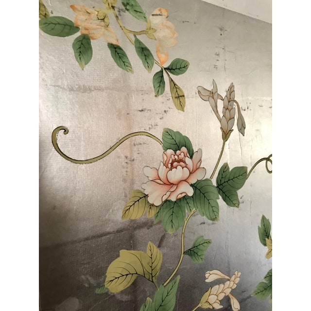 Asian Chinoiserie Old Handpainted Wallpaper Panel Mounted on Foam Core For Sale - Image 3 of 7
