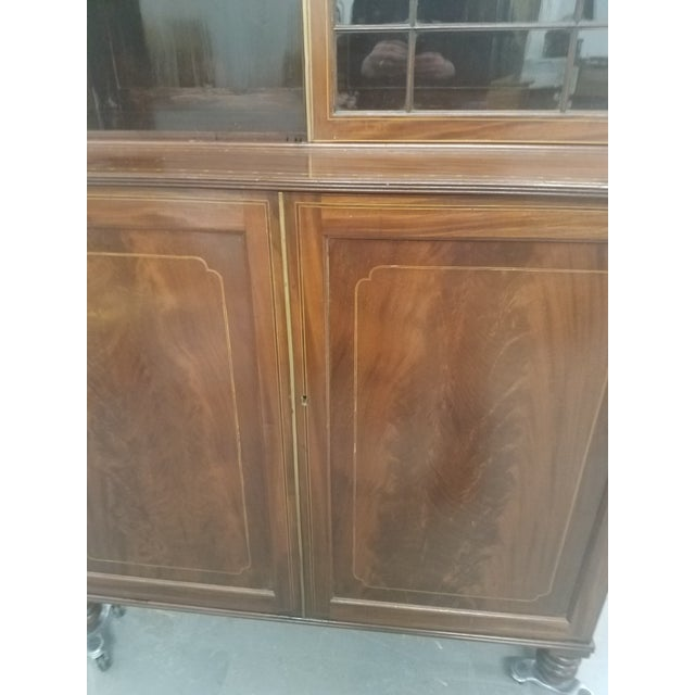 Antique English Bookcase Cupboard - Mahogany With Marquetry For Sale In Dallas - Image 6 of 13