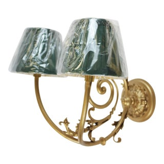 Gilt Wall With Two Socket Sconces With Green Shades For Sale