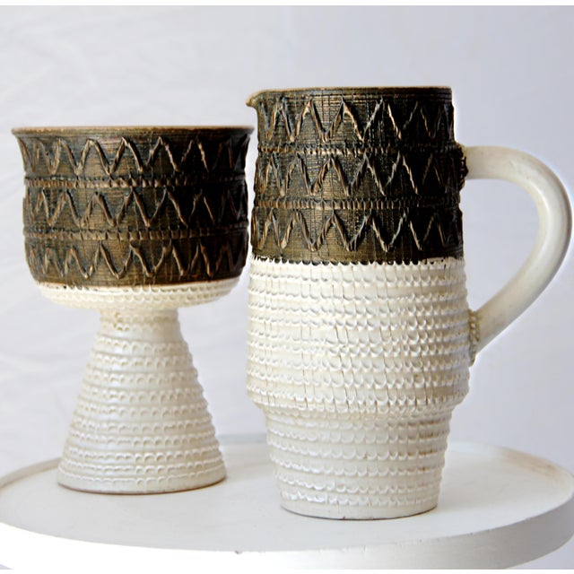 Mid Century Bitossi Fratelli Fanciullacci Italian Sgrafitto Pottery Set - a Pair For Sale - Image 9 of 11