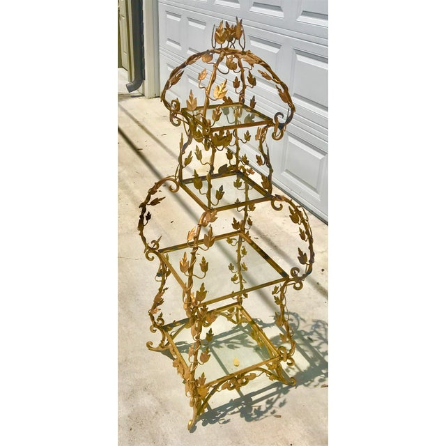 1940's French Provincial Style Italian Gold Gilt Vine Four Shelf Etagere For Sale - Image 12 of 12