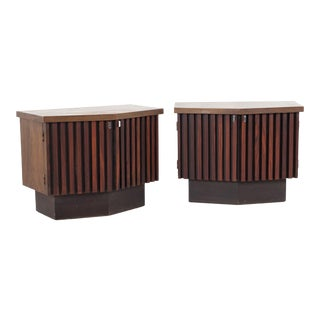 Lane Tower Suite Mid Century Walnut and Rosewood Platform Nightstands - a Pair For Sale